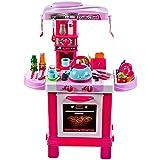 MalPlay Rosa Kinderküche | Spielküche mit Herdplatte und Wasserkocher | mit Zuberhör und Produkte | Rollenspiel Geschenk für Jungen und Mädchen ab 3 Jahren