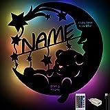 RGB Farbwechsel Bär auf Mond Baby-Geschenke zur Geburt personalisiert mit Namen & Geburtsdaten für Mädchen & Junge Jungs I USB Nachtlicht Schlummerlicht Wand-Lampe