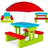 KESSER® Kindersitzgruppe mit Sonnenschirm Kindertisch Picknickset | Sitzgarnitur Tisch und Bänke | Sitzgruppe Kindermöbel Gartenmöbel für Kinder Grün