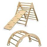 Kidodido Kletterset – Dreieck & Bogen & Rampe – komplettes Set – Pikler & Montessori Kletterdreieck – Kletterbogen Set mit zweiseitiger Rampe (Klettern und Rutschen) – Kleinkind Fitnessstudio