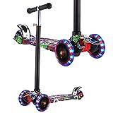 WeSkate Roller Kinder Dreiradscooter mit PU LED Leuchtenden Räder,einstellbaren Höhe und Doppel-Hinterrad Big Rädern Kinderscooter für Kinder Jungen Mädchen 3-12 Jahre alt