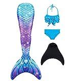 DNFUN Mädchen Meerjungfrauenschwanz Zum Schwimmen mit Meerjungfrau Flosse - Prinzessin Cosplay Meerjungfrauenflosse zum Schwimmen, 4 Stück Set,G5+WJF46,150