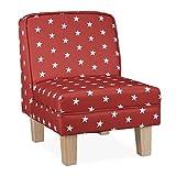 Relaxdays Kindersessel mit Sternen, für Jungen & Mädchen, Kleiner Sessel für Kinderzimmer, HBT: 60 x 45 x 52 cm, rot
