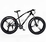 Aoyo Teens Mountain Bikes, 21-Gang 24 Zoll Fat Tire Fahrrad, High-Carbon Stahlrahmen Hardtail Mountainbike mit Doppelscheibenbremse, Gelb, Spoke, Größe: 3 Spoke, (Color : Black, Size : 3 Spoke)