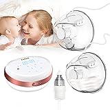 Tragbare Milchpumpe, doppelte elektrische Milchpumpe, freihändige Stillpumpe mit Baby-Nasensauger, auslaufsicher, ultra-leise (5 Modi, 24 mm & 28 mm)