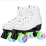 YUNWANG Schlittschuh Zweireihige Rollschuhe Für Kinder Und Jugendliche MitAllenRädernLeuchten Roller Skates PU Leather High-top for Indoor Outdoor