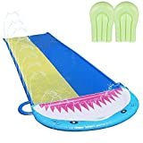 Ulapithi Wasserrutsche Double Slip Mit 2 Bodyboards Und Sprinkler,Wasserspielzeug Für Garten Rasen Outdoor Kinder Sommer Freiluftspiel