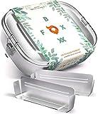 FOXBOXX® Brotdose Edelstahl | Premium | GRATIS  2 Trenner / 3 Fächer | DualCham Dichtung & Smart Clips | Auslaufsichere, umweltfreundliche Lunchbox für Kinder & Erwachsene | Mini 800ml