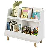 SoBuy KMB19-W Kinderregal mit 5 Fächern Bücherregal Aufbewahrungsregal für Kinder Standregal mit Massivholzbeine weiß BHT ca.: 86x77x36cm
