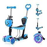 YOLEO 5-in-1 Kinder Roller Scooter mit Abnehmbarer Karikaturkorb Sitz Schubstange LED große Räder Bequeme Rückenlehne Höheverstellbare Lenker für Kleinkinder Jungen Mädchen ab 2 Jahre (Blau)