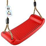 GO!elements Schaukel Garten - Kinderschaukel Outdoor Indoor - Schaukelsitz Schaukelbrett Brettschaukel für Kinder zum Schaukeln - Höhenverstellbar - rutschfest - Farbe: Rot
