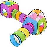NUBUNI 4 in 1 : Spielzelt Kinderzelt : Babyzelt mit krabbeltunnel : Teiliges Bällebad : Spielzelt Babyzelt : Spielhaus mit Zelt Tasche und Tunnel : Mehrfarbig