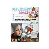 2x Fruchtsauger in je 3 Größen passend für Babys und Kleinkinder PVC + BPA frei, ideal für Bio Früchte, Gemüse, Brei + Beikost, Beisring + Schnuller in Einem (Blau Orange)