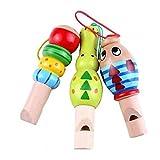 AMOYER Hölzerne Karikatur-Tier Whistle Educational Instrument Spielzeug für Kinder Montessori Learning zufällige Farbe