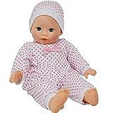The New York Doll Collection Weicher Körper Kaukasisches Baby 14 Zoll/36 cm Puppe - Stirnband-Passform und rosa Kleid (Bonus Schnuller inklusive)