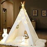 IREENUO Tipi Zelt für Kinder mit Lichterkette & Tragetasche & Bodenmatte, Faltbare Kinder Spielzelte Spielhaus Spielzeug für Mädchen/Jungen Indoor & Outdoor Spielen (Weiß)
