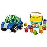 Oball, Spielzeugauto mit Rassel, 1 Stück, Farblich sortiert & Fisher-Price FFC84 Babys Erste Bausteine Formensortierspiel mit Spielwürfeln und Eimer zum Verstauen, ab 6 Monaten