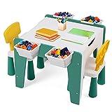 Sunix Kindersitzgruppe, Kindertisch mit 2 Stühlen, Maltisch für Kinder Kindermöbel Set, Tischplatte abnehmbar, Kleinkinder Tisch mit Stuhl, Kindertisch mit 4 stauraum