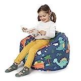 BANBALOO- Sitzsack zur Aufbewahrung von Plüschtieren- Aufbewahrungssack für Kissen und Decken, umwandelbar in einen Kindersessel-Organizer für Kinder. (Dino, 66 cm)