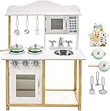 mamabrum Holzküche mit Zubehör, Spielküche aus Holz, Backofen für Kinder, ausgestattet mit Einer Mikrowelle, Spielküche Holz Kinderspielküche Spielzeug Küchenspielzeug Set Kitchen inkl. Zubehör