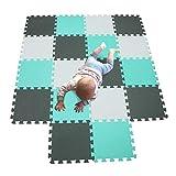 MQIAOHAM babys color foam krabbelmatte matten playmat puzzle puzzle-spielmatte schaummatte spielteppich Weiß-Grün-Grau 101108112