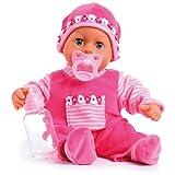 Bayer Design 93800-pink 93825AA Babypuppe First Words, Schlafaugen, spricht 24 Babylaute, weicher Körper, mit Schnuller und Flasche, 38 cm, pink