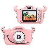 """Wurkkos Kids Digital Camera,12.0 Megapixel Kamera mit Einer kindgerechten,Niedlichen Silikonhülle,geeignet als Geburtstagsgeschenk BZW.Spielzeug,2.0""""Display 1080P HD Kamera mit 32GB SD Karte,Rosa"""