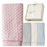 Babydecke Mädchen rosa Kuscheldecke Baby rose Erstlingsdecke Set Decke super-weich Erstausstattung Geschenk Geburt 80x110 cm Neugeborene Spieldecke kuschelig Box
