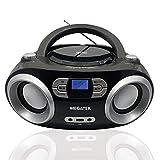Megatek CB-M25BT CD Player und Bluetooth USB Radio Boombox, FM-Radio, USB-Playback, Bluetooth, AUX-Eingang, Kopfhörerbuchse, 2 x 2 W RMS-Leistung, Netz- und Batteriebetrieb - Schwarz