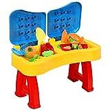DREAMADE 2 in 1 Sand- und Wasserspieltisch mit Deckel, Sandkasten Tisch mit verschiedenem Zubehör, Sandspielzeug Set, Spieltisch für Kinder ab 3 Jahren, für Outdoor & Indoor