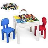 LADUO Kindertisch mit Stühle, 100pcs Mini Bausteine Ziegelspielzeug, 5-in-1 Kleinkind Spieltisch Kinderschreibtisch Lerntisch Spieltisch Bausteintisch und 2 Stühle, Kindersitzgruppe
