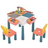 4 in 1 Kindersitzgruppe, Kindermöbel Set mit 1 Kindertisch, 2 Stühle und 4 Aufbewahrungskörben, Bausteintisch mit 83 Bausteine, Doppelseitiger Tischplatte für Kinder ab 2 Jahren, für Jungen Mädchen