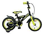 Amigo BMX Turbo - Kinderfahrrad für Jungen - 14 Zoll - mit Handbremse, Rücktritt, Lenkerpolster und Stützräder - ab 3-4 Jahre - Schwarz