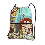YooHome Kim Possible Jungen Mädchen Teenager Kordelzug Schulrucksack Rucksack Handtasche Schulter PE Tasche Sporttasche für Reise Gym mit Reißverschluss