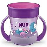 NUK Mini Magic Cup Night Trinklernbecher   auslaufsicherer 360°-Trinkrand   ab 6Monaten   mit Leuchteffekt   praktische Griffe   BPA-frei   160ml   Lila