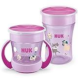 NUK Magic Cup Trinklernbecher Duo Set   Magic Cup 230ml + Mini Magic Cup 160ml mit Ergonomische Griffe   auslaufsicher 360° Trinkrand   BPA-frei   6+ Monate   Hund (lila)