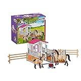 Schleich 42369 Horse Club Spielset - Pferdebox mit Arabern und Pferdepflegerin, Spielzeug ab 5 Jahren,19 x 19 x 23 cm