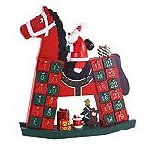 LiPengTaoShop Adventskalender Holz Adventskalender Weihnachtsmann und Holzpferd Dekoration Weihnachtsadventskalender Weihnachtsdeko