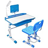 Yinleader Kinderschreibtischstuhlset, ergonomischer himmelblauer Kinderschreibtischstuhl Höhenverstellbarer multifunktionaler Schreibtisch und Stuhl, Schülertisch mit Lampe und Bücherständer