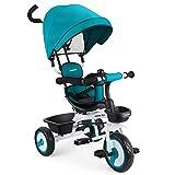 Fascol Baby Dreirad 4 in 1 Kinderdreirad Tricycle für Kinder ab 12 Monate bis 5 Jahren mit Abnehmbarer Sonnendach&Schubstange Dreiräder mit Becherhalter,Blau