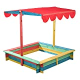 Mojawo Toller Holz Sandkasten mit Verstellbarer Überdachung Holz Sandkiste Spielhaus Sandbox Plane Kiefernholz bunt