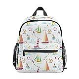 ECHOBU Ocean Anchor Leuchtturm Segelboot Kinder Rucksack Kinder Vorschul-Büchertaschen Kindergartenrucksack Kleinkind Rucksack Tagesrucksack für Mädchen Jungen Schule