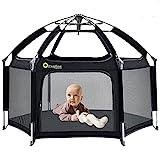 Laufgitter Laufstall Baby mit Laufgittermatte,Exqline Tragbarer Baby-Sicherheitslaufstall mit 6 Paneelen, Baby Playpen Drinnen und Draußen (Schwarz)