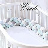 Wuudi Bettumrandung Kantenschutz Kopfschutz für Baby-/Kinderbett Geflochtene Stoßfänger Baby Nestchen Bettschlange 2,2m (weiß+grau+blau+grün)