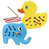Coogam Holz Schnürung Tiere, 2PCS Ente Einfädeln Spielzeug Feinmotorik Flugzeug Auto Reisen Blockspiel Montessori Vorschule Puzzle Geschenk für 1 2 3 Jahre Kleinkinder Baby