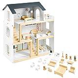 Mamabrum, Puppenhäus Aus Holz Mit Zubehör, Holzpuppenhaus mit Möbeln, Holztraumhaus mit Zubehör inklusive, 3-stöckiges Spielhauspuppen-Spielzeug für Kinder, skandinavisches Farbdesign