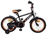Amigo Sports - Kinderfahrrad für Jungen - 14 Zoll - mit Handbremse, Rücktritt, Lenkerpolster und Stützräder - ab 3-4 Jahre - Schwarz
