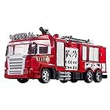 Moerc RC Feuerwehrauto 2,4g Fernbedienung Feuermotor Rettungswagen Elektrische Feuerfahrzeug 360 ° Rotierende Wasserstrahlabnehmbare Leiter Stadt Aktion Feuermaschine mit Ton und Licht