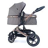 Pixini Kinderwagen (Neyla Kombikinderwagen mit Stoffwanne/Sitz/Wickeltasche/Cupholder/Regenschutz/Mückennetz/Wickelauflage in gold/braun)