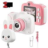 Kinder Kamera für Mädchen, Kinderkamera Kinder Selfie Fotokamera mit 2 Zoll IPS HD-Bildschirm 1080p 32GB SD-Karte USB-Aufladung Videorecorder für 3-12 Jahre Mädchen Kinder Spielzeug Geschenk, Rosa